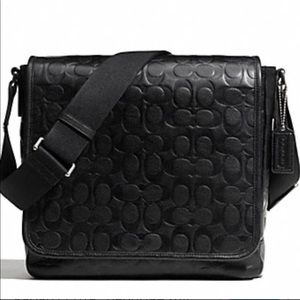 COACH Web Leather Embossed C Map Messenger Bag